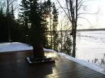 Winter scene with setting sun