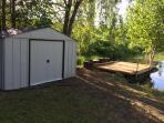 Shed with sports gear