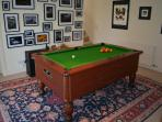 Pool table in gallery area