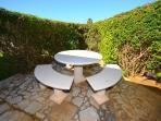 Shaded garden area dining