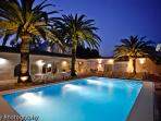 Pool side by night