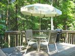 This 'deck in the tree-tops' provides a lovely view.  Enjoy grilling on the gas grill.