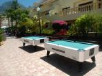Outside Pool tables.