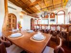 Our dining space indoors allows for up to 8 guests