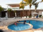 THe new pool at Mamitas Beach Club - rent a lounge and umbrella for 60 pesos and use the pool