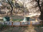 A place to relax and unwind.  View of extended backyard.