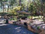 BBQ area with natural gas.