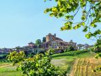 Il paese di Roddi con il castello medievale, che negl'ultimi anni è entrato a far parte dell'Unesco