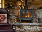 Cozy up to the wood stove on a chilly night