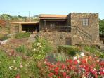 Vista fachada y jardin