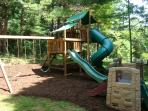 Playground with slides, swings, forts