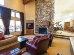 Large Wood Burning Fireplace in Den Area with New Electronics and Great Views to the Mountains