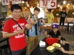 Durian enjoyment with customer before leaving