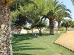 El frondoso jardin de cesped natural recorre todo el perimetro de la villa con su variado arbolado