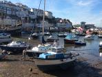 Brixham harbour at half tide