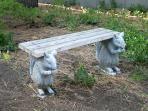 Take a load off on our unique squirrel bench