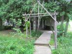 Twig trellis to waterfall