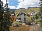 Summer view toward the ski mountain and Vail Village areas.