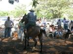 Enjoying the Fiestas with the town locals