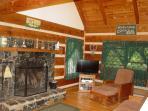 Mountain Laurel Living Room - Stone Wood Burning Fireplace / Vizio Smart TV/WiFi (39')
