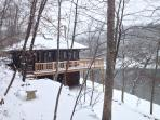 The Perch- very quiet and peaceful after a snowfall.  Warm and cozy inside, yet surrounded by nature