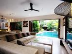 living area to the pool