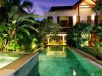 pool and jacuzzi by evening