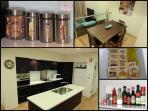 Fully functioning kitchen, with basic condimentsl. Dining for six.