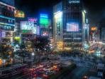 shibuya st night time .