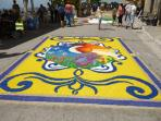 Streets lined with petals at Montefiore's infiorata
