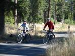 bike trail runs into Tahoe City from hwy 28