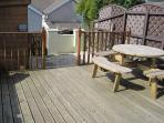 Decking Area now with Picnic Table, Bike Shed and Barbecue