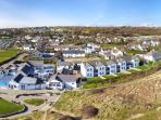 Aerial picture of our cottages .