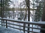 Winter view of the lake from the deck.  Yes, there is ice fishing too.