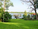 Beautiful large yard with private pier.