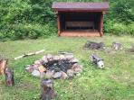 Lean-to and firepit