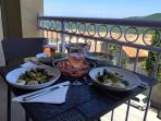 Lunch on the balcony in summer