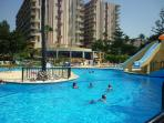 pool with slides. 4m deep at slides. there are also a small pool for infants. and 1m deep pool