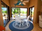 Breakfast nook with beach views and super high ceilings.