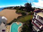 View from a Drone to the Building and Pool Area, Apt. on the third floor