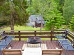 The 'Top Deck' is a great place to view the gardens and surrounding forests in front of the fire pit