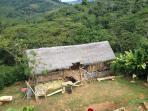El Restobar de madera y hojas, construido por las manos expertas de los nativos de la Selva