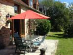 Wonderful sunny patio with furniture chimera and BBQ