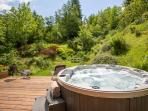 The hot tub and wonderful garden