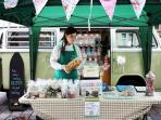 our amazing vintage vw campervan sweet shop, available for weddings and events