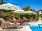 Top quality sun loungers, parasols and Polo Ralph Lauren pool towels