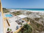 A great view of the pool and the expanses of the Gulf of Mexico