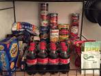 Honor pantry is ready. Use what you like and replace with same or similar when you leave