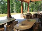 Bourbon Barrel tables under the Pavilion