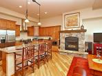 Open layout with gas fireplace